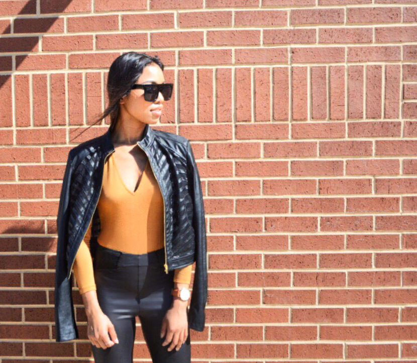 Jacket: Bebe, Bodysuit:  Asos , Leggings:  Asos , Sunglasses: HM