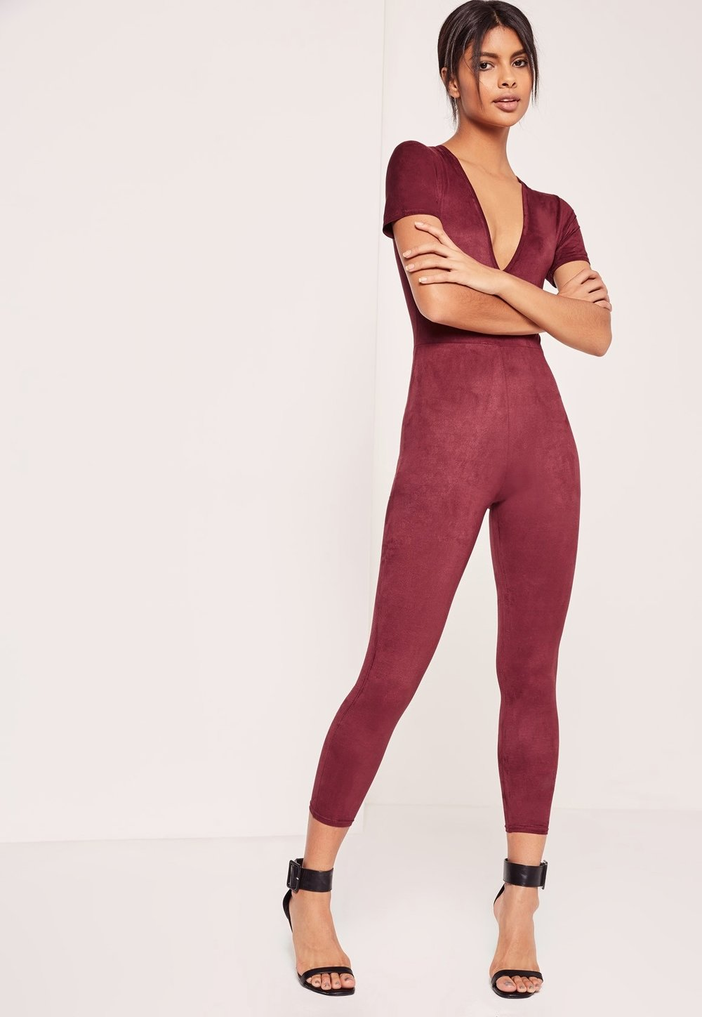 Missguided Faux Suede Short Sleeve Jumpsuit Burgundy