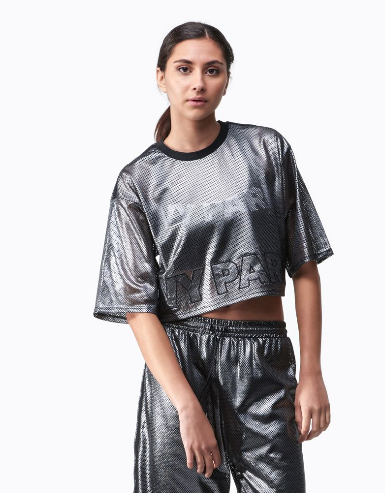 Ivy Park Metallic Mesh Crop T-Shirt - Women's