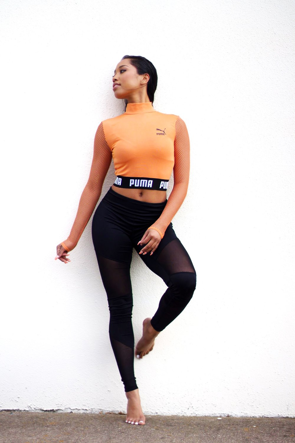 PUMA EXCLUSIVE TO ASOS CROPPED MESH TOP -