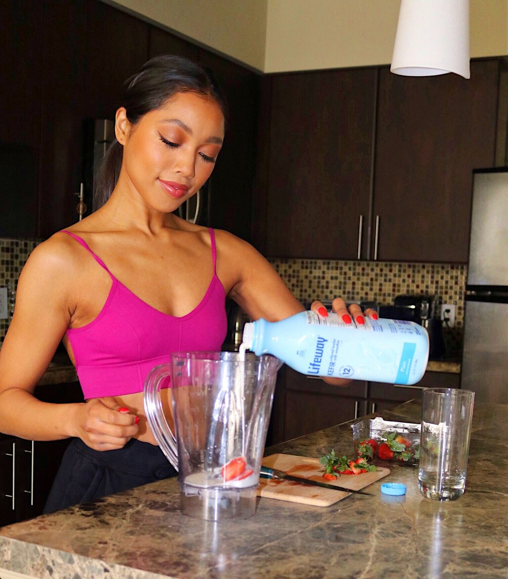 My Simple + Fast Probiotic Recipe - 1 1/2 Cup of Kefir1 Cup of Strawberries or any desired fruit (fresh or frozen)Optional: Your favorite Protein Powder