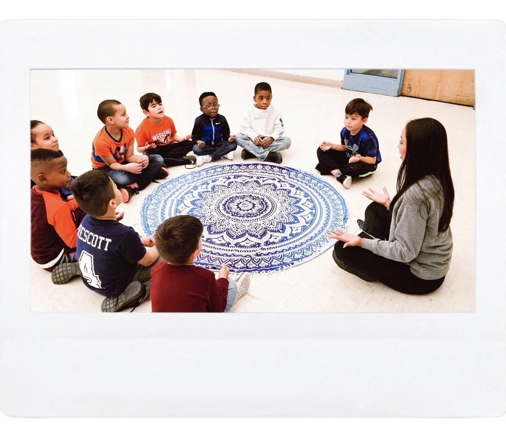 Use a Meditation Blanket - I love to use my meditation blankets to help create a space for meditation. They're fun and easy! I set it out and teach them about boundaries and how to hold space for others. We have one person sit in the middle, the rest of us gather hands and we do a one minute meditation. This helps them learn to quiet the mind while also learning that others have the same right. They learn first-hand and we break the stigmas and preconceived notions about meditation. I also show them the box breathing technique to help them learn how to manage their heart rate and how to bring their stress levels down. It gives them power over their mind + body!