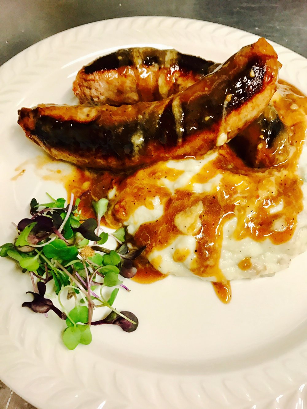 Bangers & Blue Cheese Mash