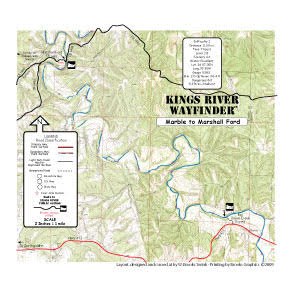 Kings River Marble to Marshall Ford map