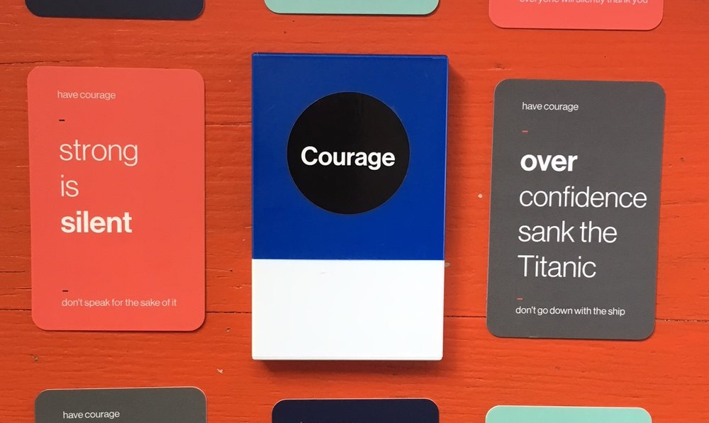 COURAGE CARDS - There's no shortage of advice on how to stop meetings sucking time without producing results, from banning powerpoint (Jeff Bezos)to vigilante CEO appearances (David Sacks, PayPal), to walking out if it's not doing it for you (Elon Musk).We'd rather play cards.Click to find out more.