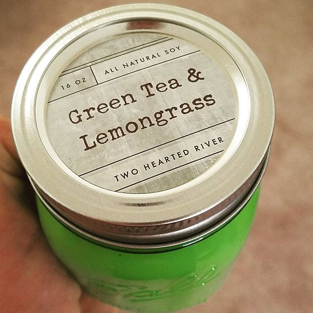New summer favorite. #Twoheartedriver #soycandles #candles #clean #burn #fresh #earthy #healthy #greentea #lemongrass
