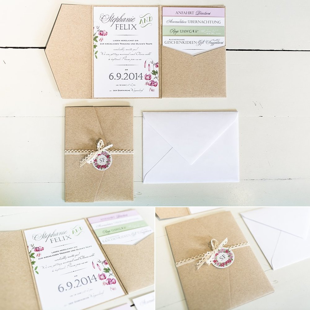 Boho Style Papeterie, Pocket Einladung