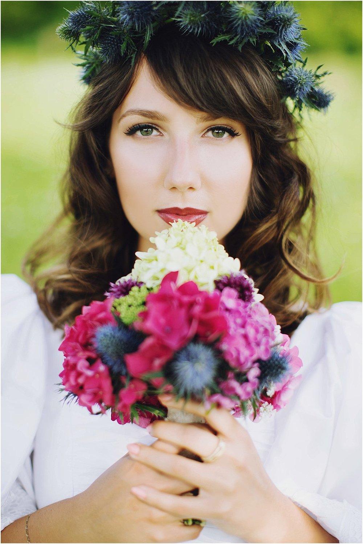Brautstrauß Folklore kräftige Farben