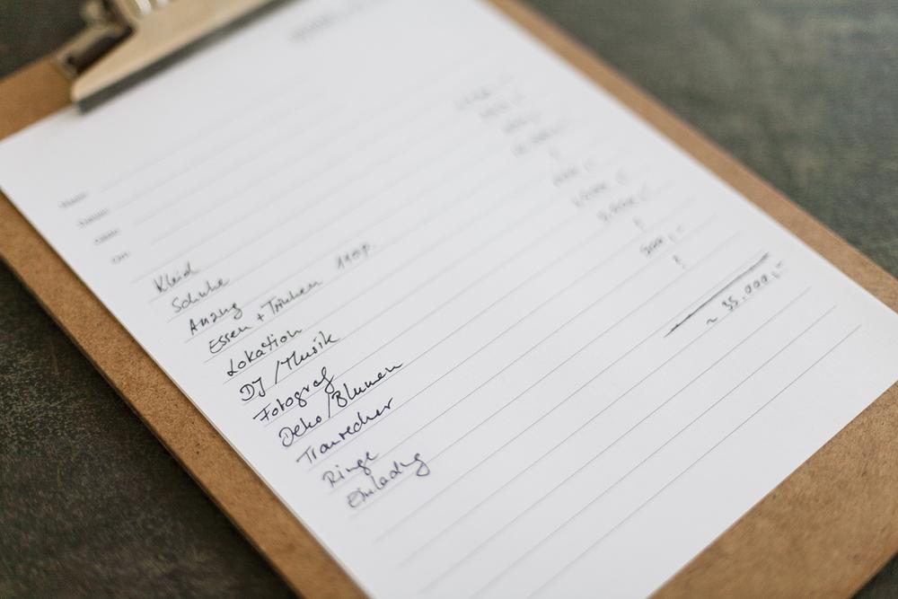 Budgetplanung Hochzeit