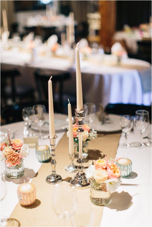 Tischdeko Silberne Kerzenständer Jute