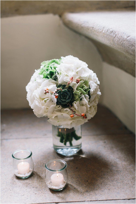 Brautstrauß Hortensien weiß