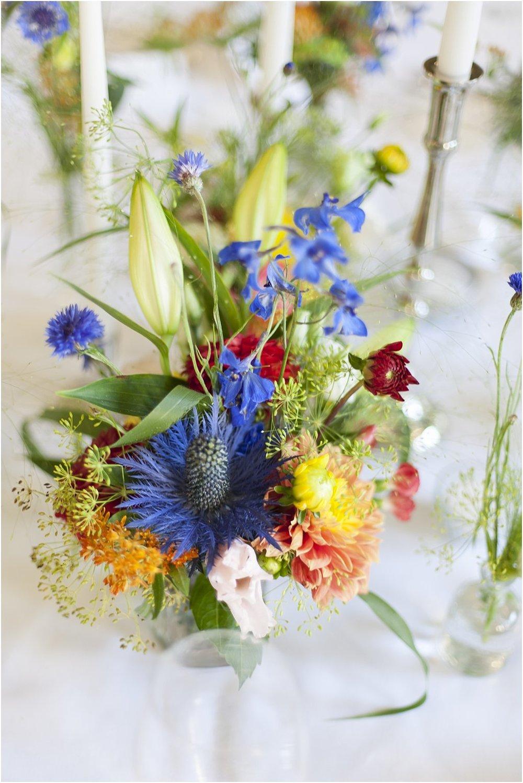 Tischdeko bunte Blumen