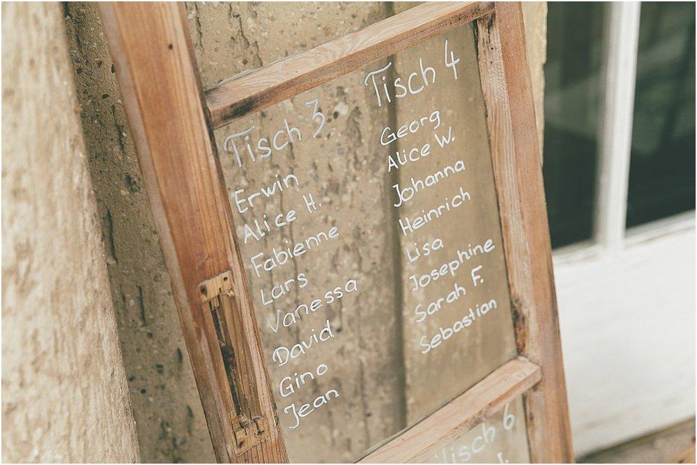Tischplan mit Fenster beschriftet
