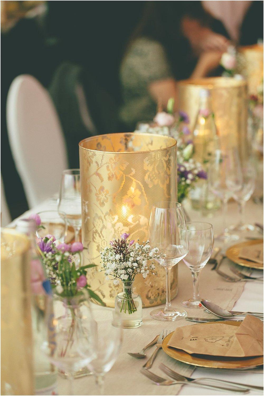 Tischdekoration Gold Pastell