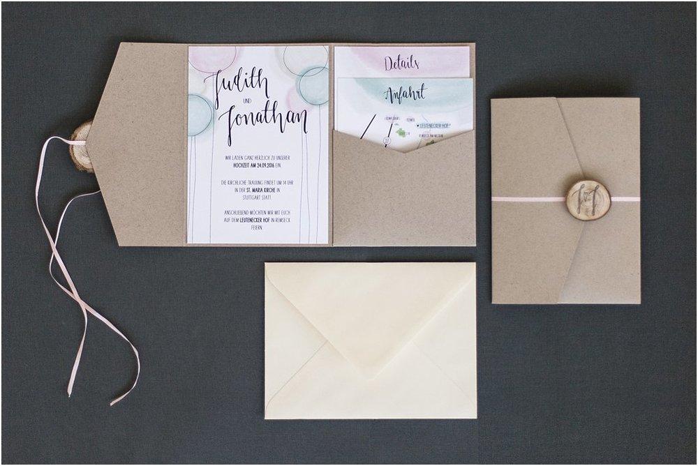 Pocketeinladung offen mit Elfenbein Briefumschlag