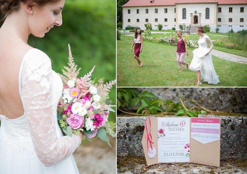 Brautstrauß pink rosa Hochzeitseinladung