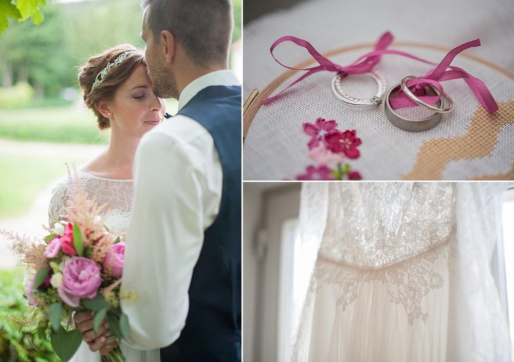 Juli Hochzeit mit Spitze und Pink