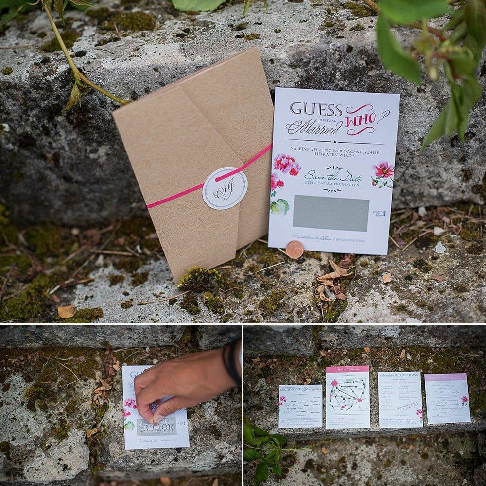 Save the Date Karte und Pocket Einladung Beerentöne