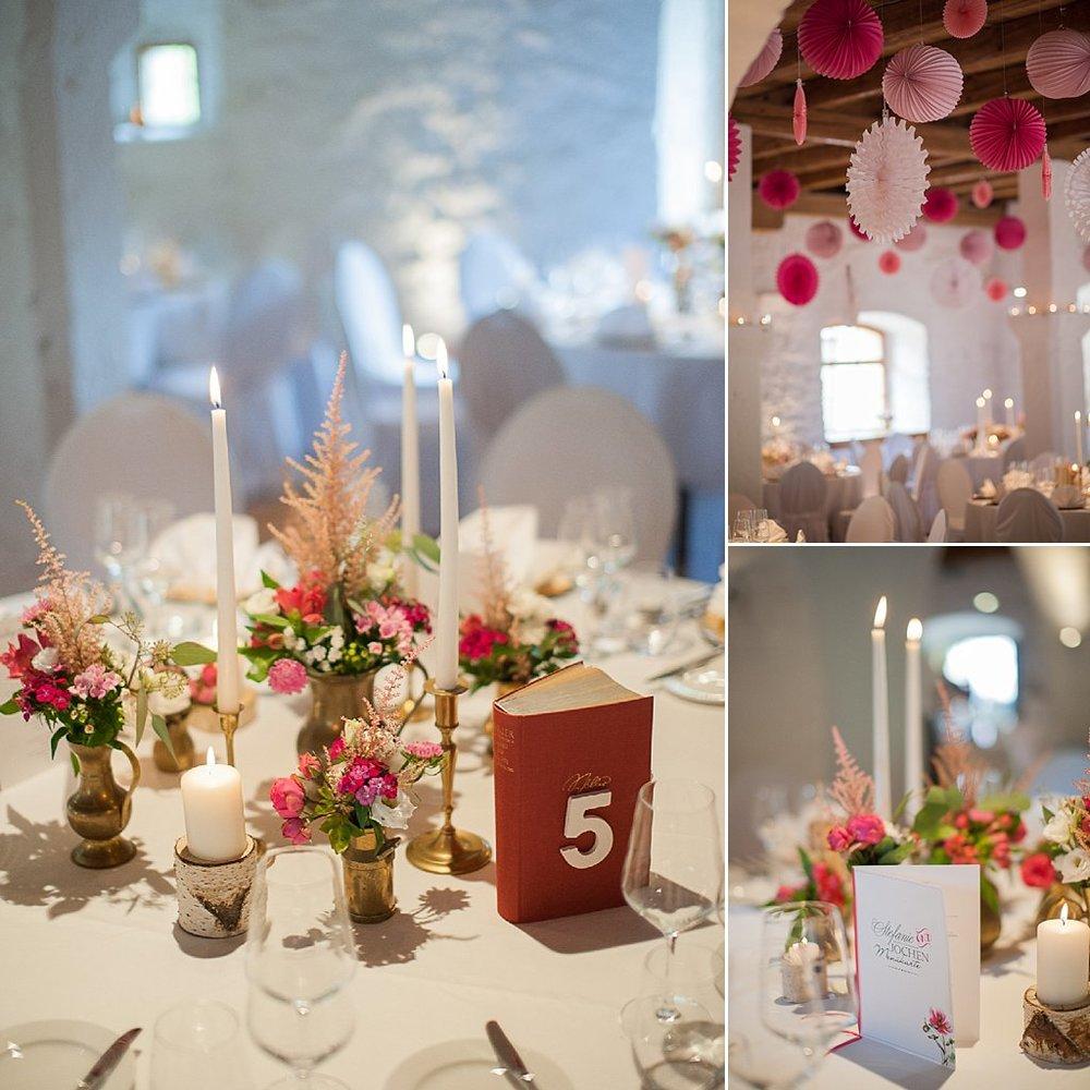 Hochzeitsdeko und Blumen Bordeaux Pink Gold