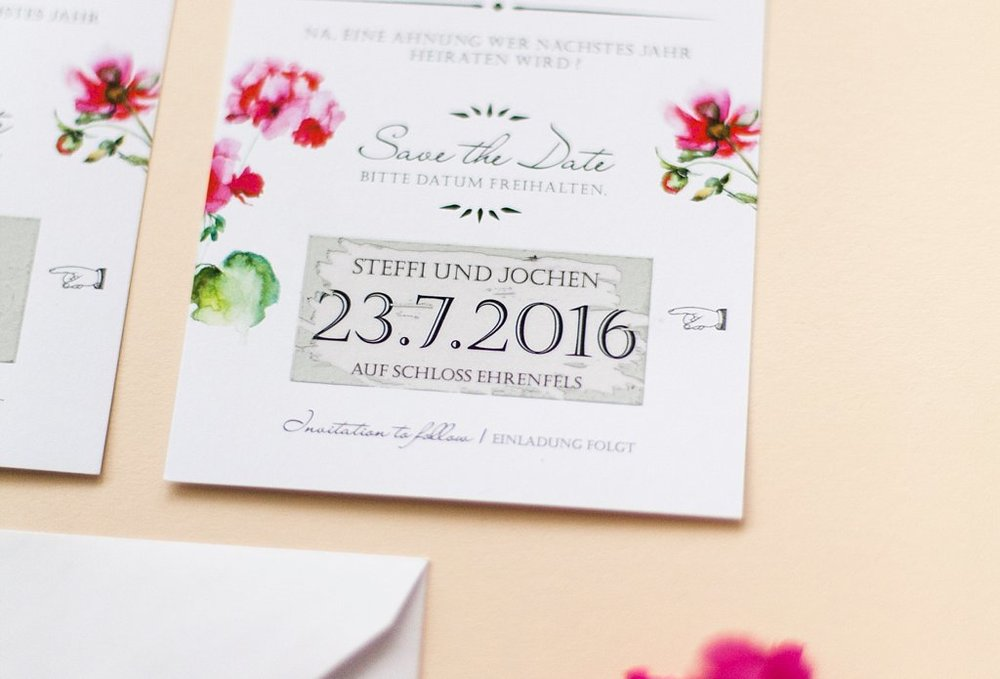 Detailansicht Rubbelfeld der Save the Date Karte