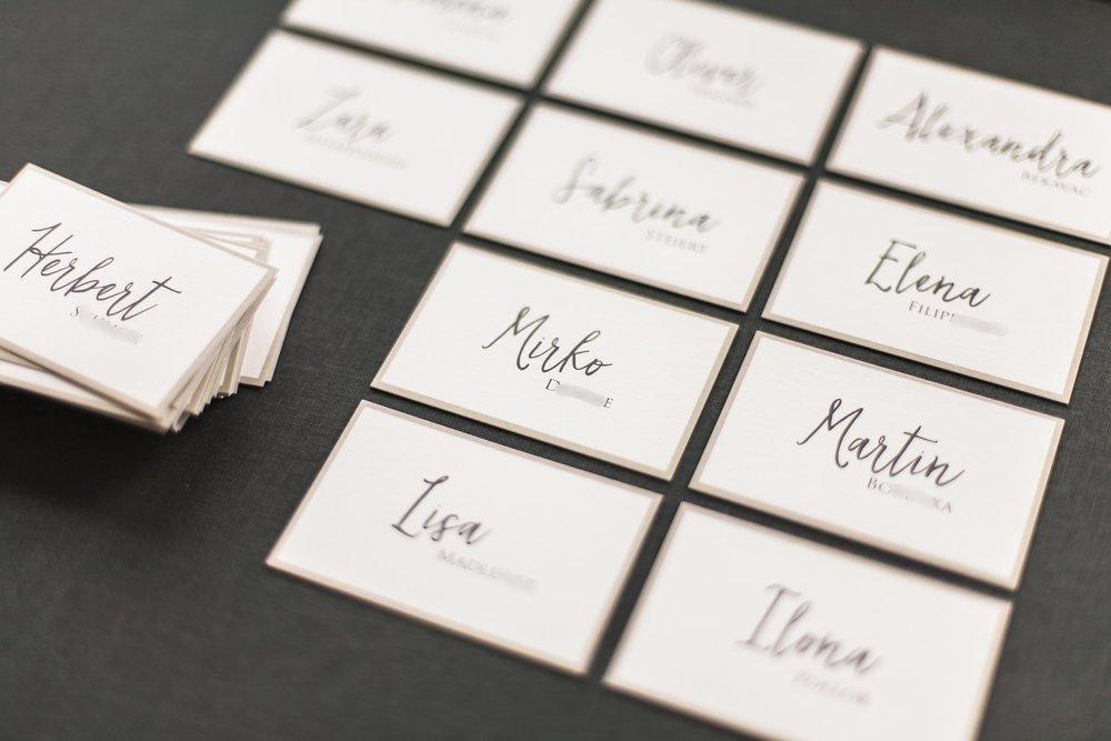 Namensschilder für die Tische