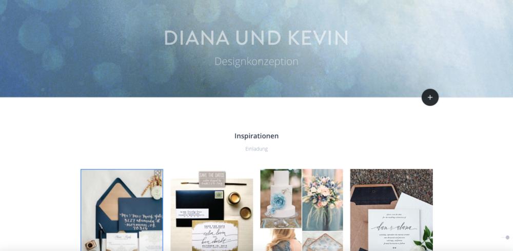 Ausschnitt einer Designkonzeption über Online-Projekt-Board