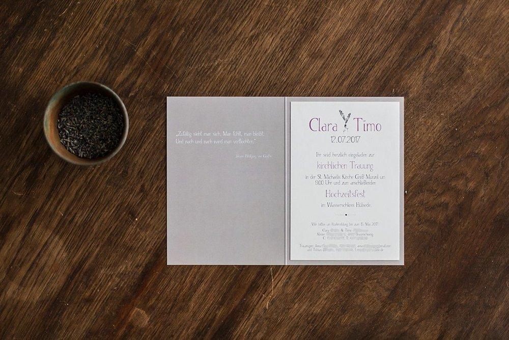 Hochzeitseinladung Klappkarte mit Eingeklebtem Einladungsschreiben A5 Hochkant