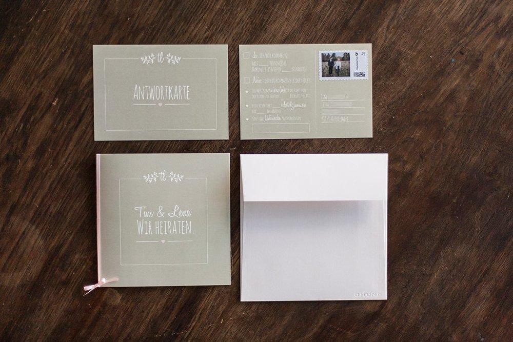 Einladung und Antwortkarte als Postkarte, mit Briefumschlag