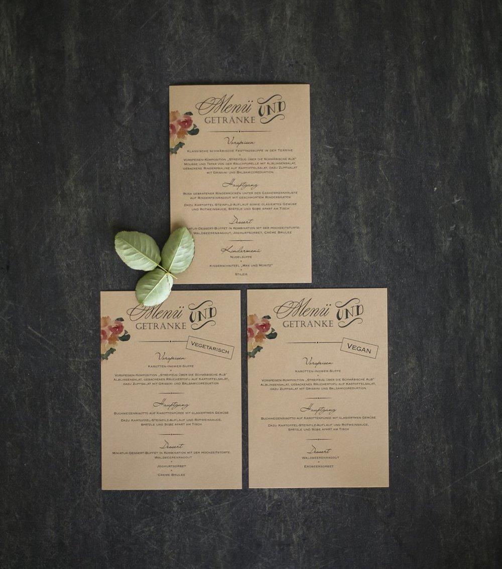 Menükarte, einfache Flachkarte, mit veganer/vegetarischer Variante