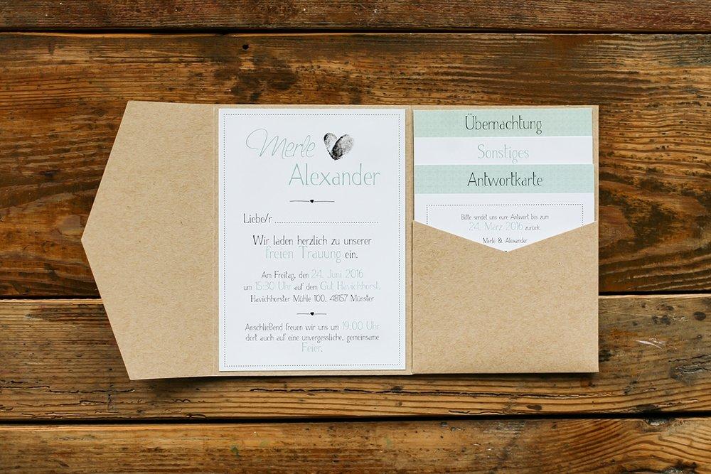 Pocketeinladung mit drei Einsteckkarten, in Mintgrün