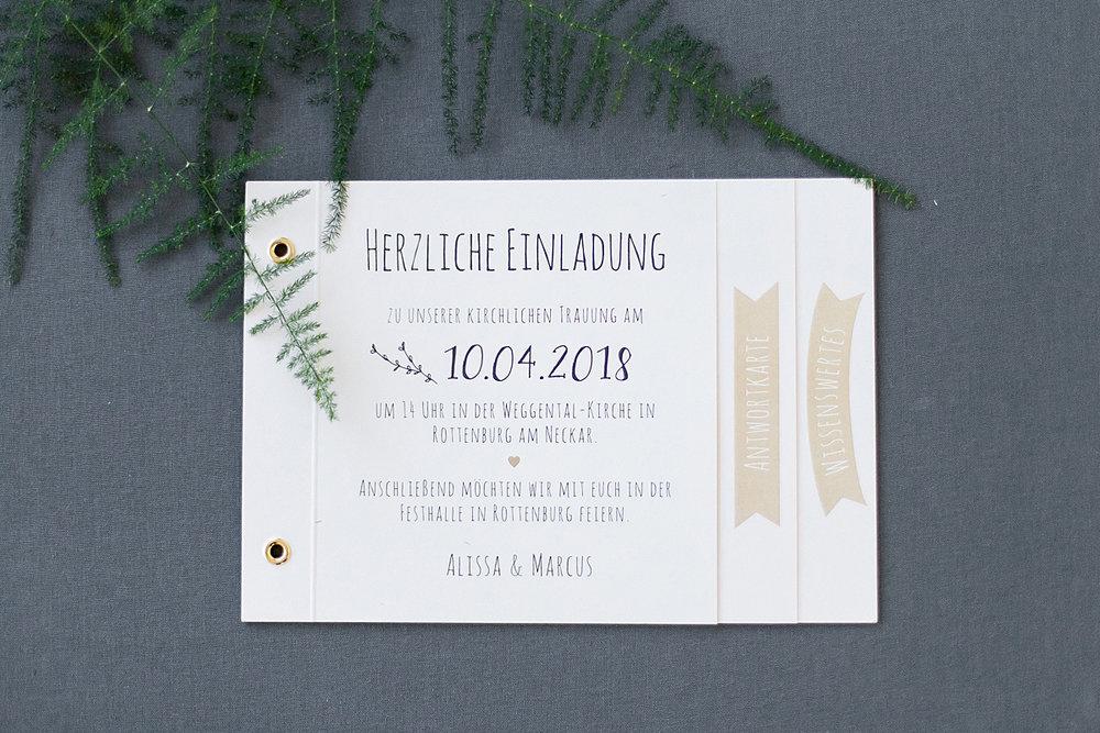 Einladung Booklet ohne Deckblatt, mit Ringösen gebunden