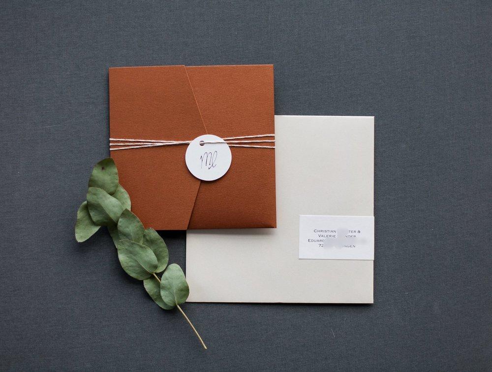 Pocketfold Einladung Kupfer quadratisch mit schimmerndem Briefumschlag und Adressaufkleber