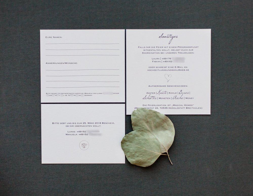 Drei Einsteckkarten, Einschübe für Pocketeinladung, Rückseiten