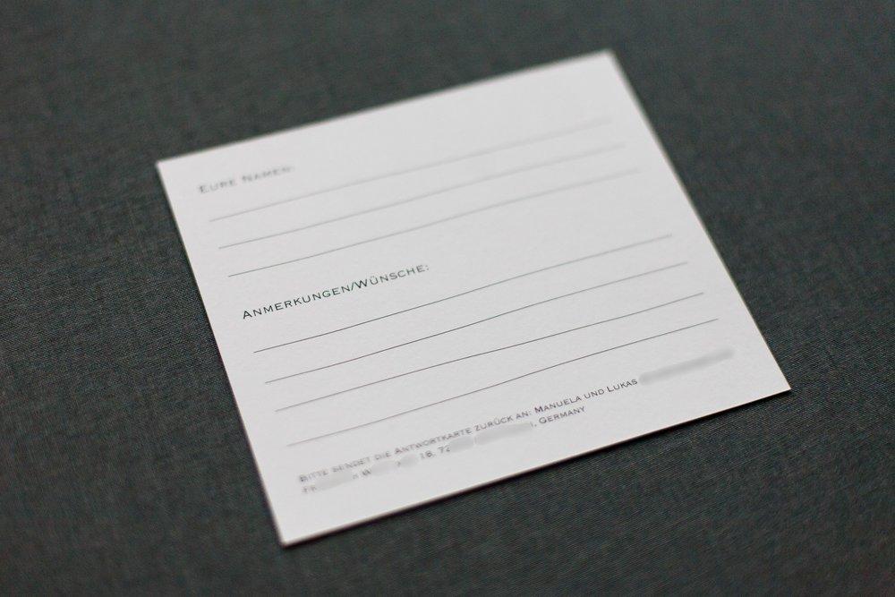 Rückseite Antwortkarte mit Platz für Wünsche, Kommentare