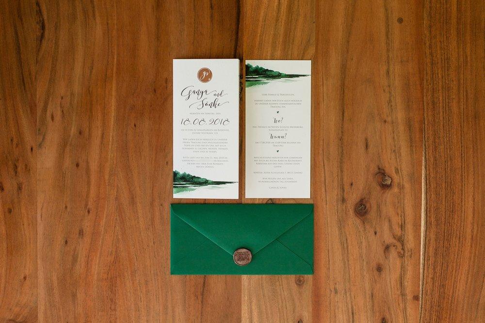 Einladung geschlossen, Vorderseite mit Einlegeblatt und Briefumschlag