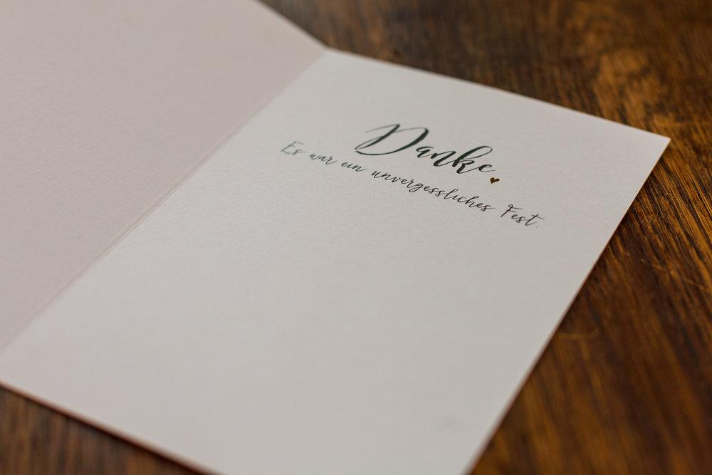 Innenansicht: Dankeskarte als Klappkarte mit Heißfolienprägung Gold