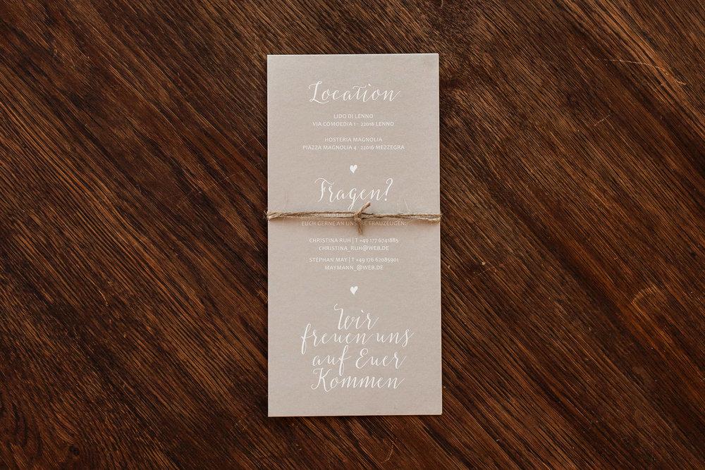 Hochzeitseinladung Rückseite, aus zwei Flachkarten gebunden