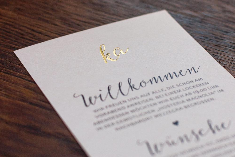 Detailansicht Einladung, Goldprägung, Heißfolienprägung Gold