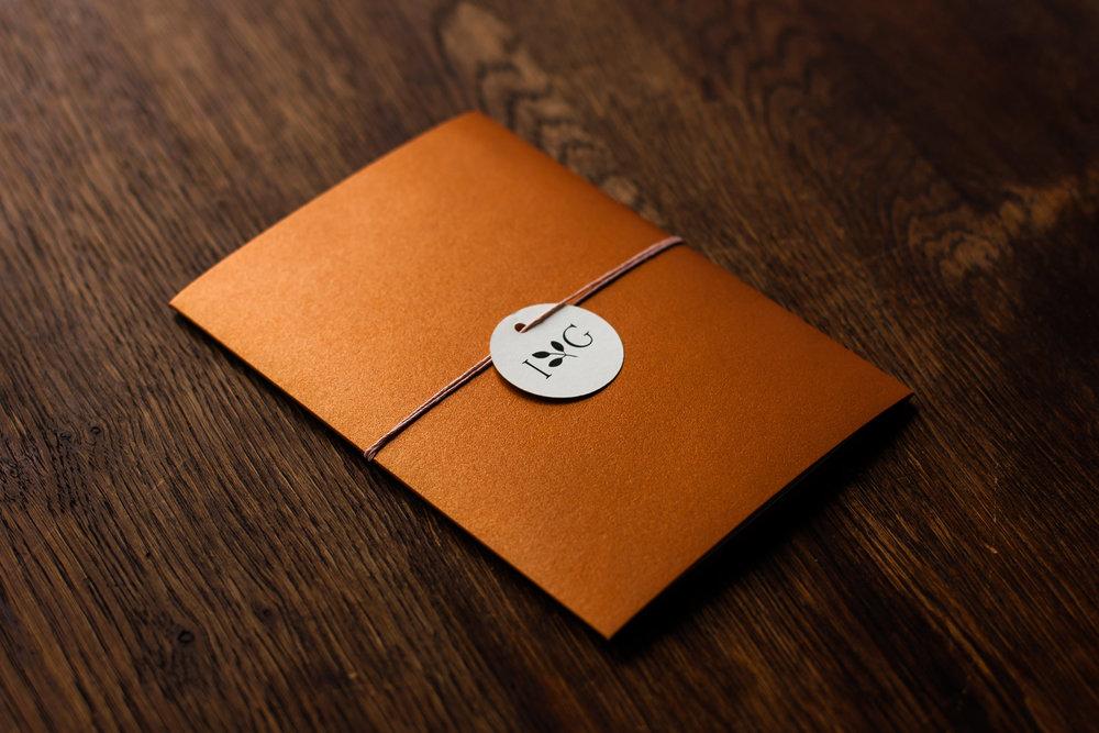 Pocketfold Einladung Kupfer mit Anhänger