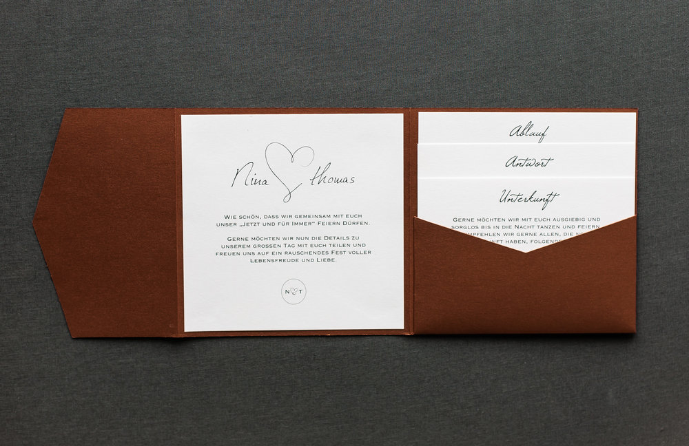 Pocketfold Einladung Kupfer mit Einladungsschreiben und drei Einschüben