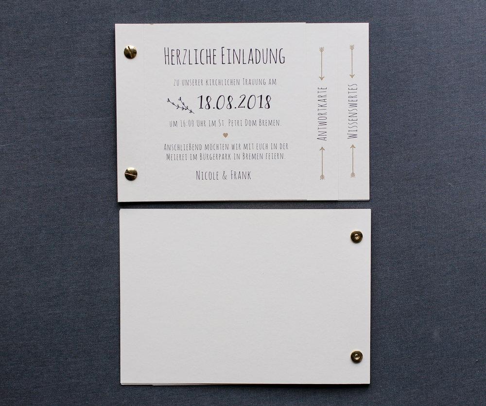 Booklets Einladung, Vorder- und Rückseite
