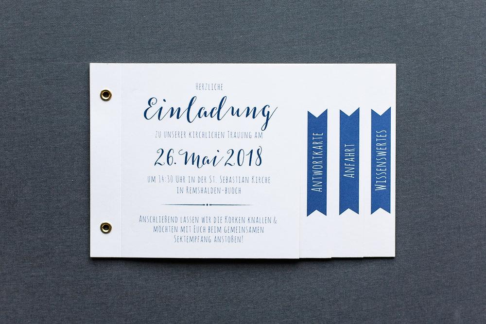 Booklets Einladung, geschlossen, Vorderseite