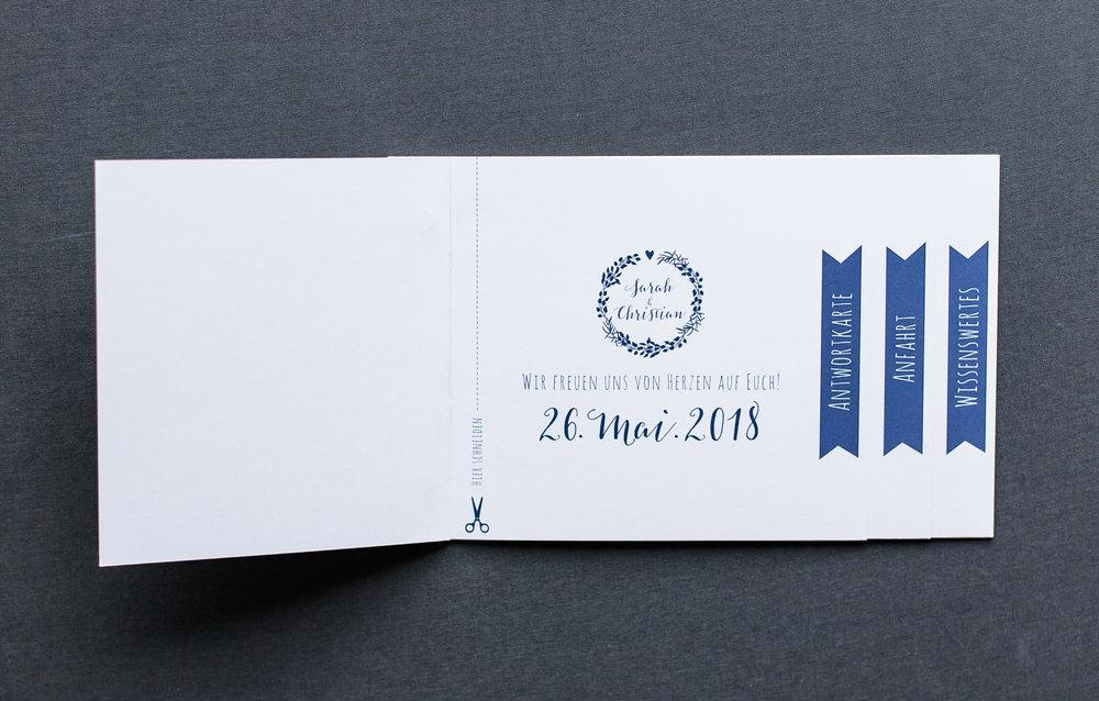 Booklets Einladung, geöffnet, Innenseite 1