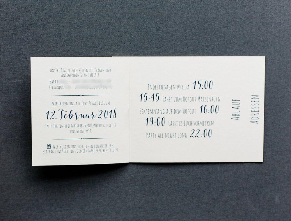Booklet Einladung, geöffnet, Innenseite 1
