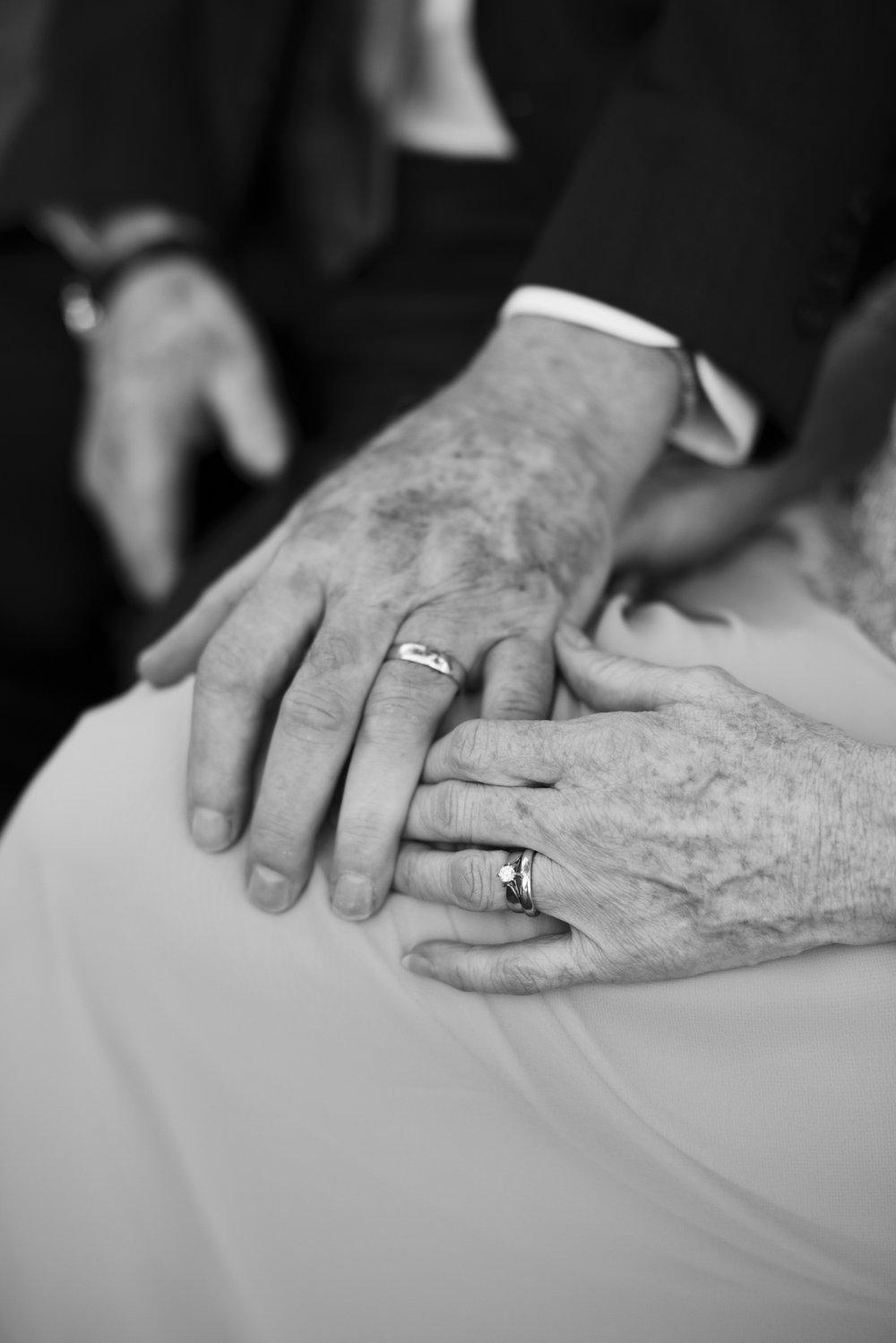 RosewoodWeddingPhotos-KathyMichael-OlderCouple-PortCredit-SummerWedding-SecondWedding-Elder-Grandparents-SecondLove-Rings-Moody-Hands