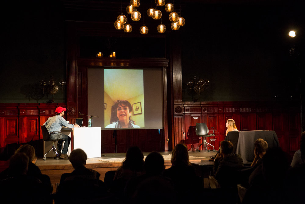 Parivash Moshrefi (on skype, projected) tells her memories of the screening of The Fall in Iran, before the revolution