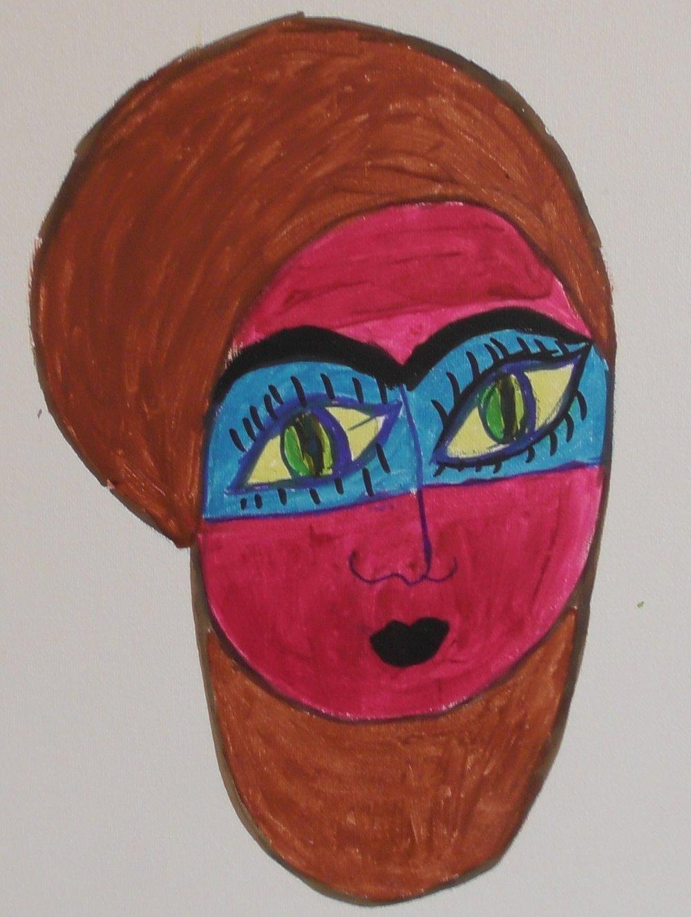 Painting by Amal Omran; acrylic paint, felt pen, canvas