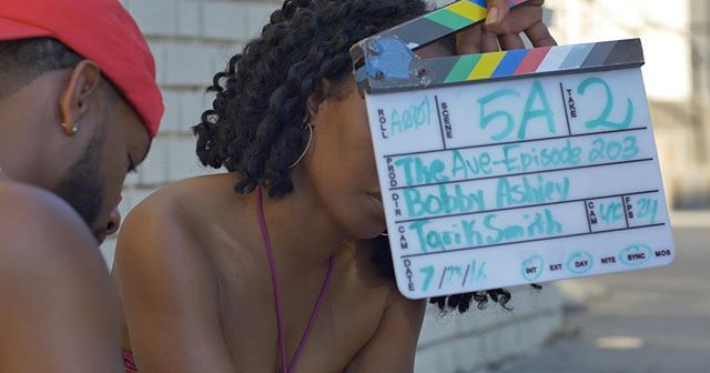 Getting more in depth with this close-up shot. Tarik Smith behind camera with Brett Lamar and Ta Shelai in front of frame. Are y'all ready? This fall. Who's coming to the premiere? #TheAveSeries