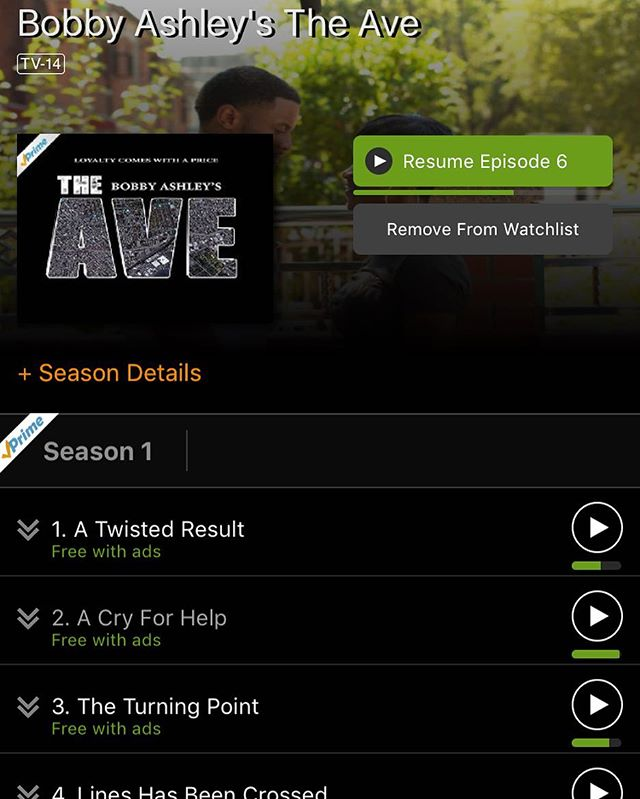You Amazon Prime right? Then head on over and BINGE WATCH season one now. Season one will not be available to watch on YouTube real soon so get a head start on the new platform. Alison Verizon FIOS on demand. #TheAveSeries