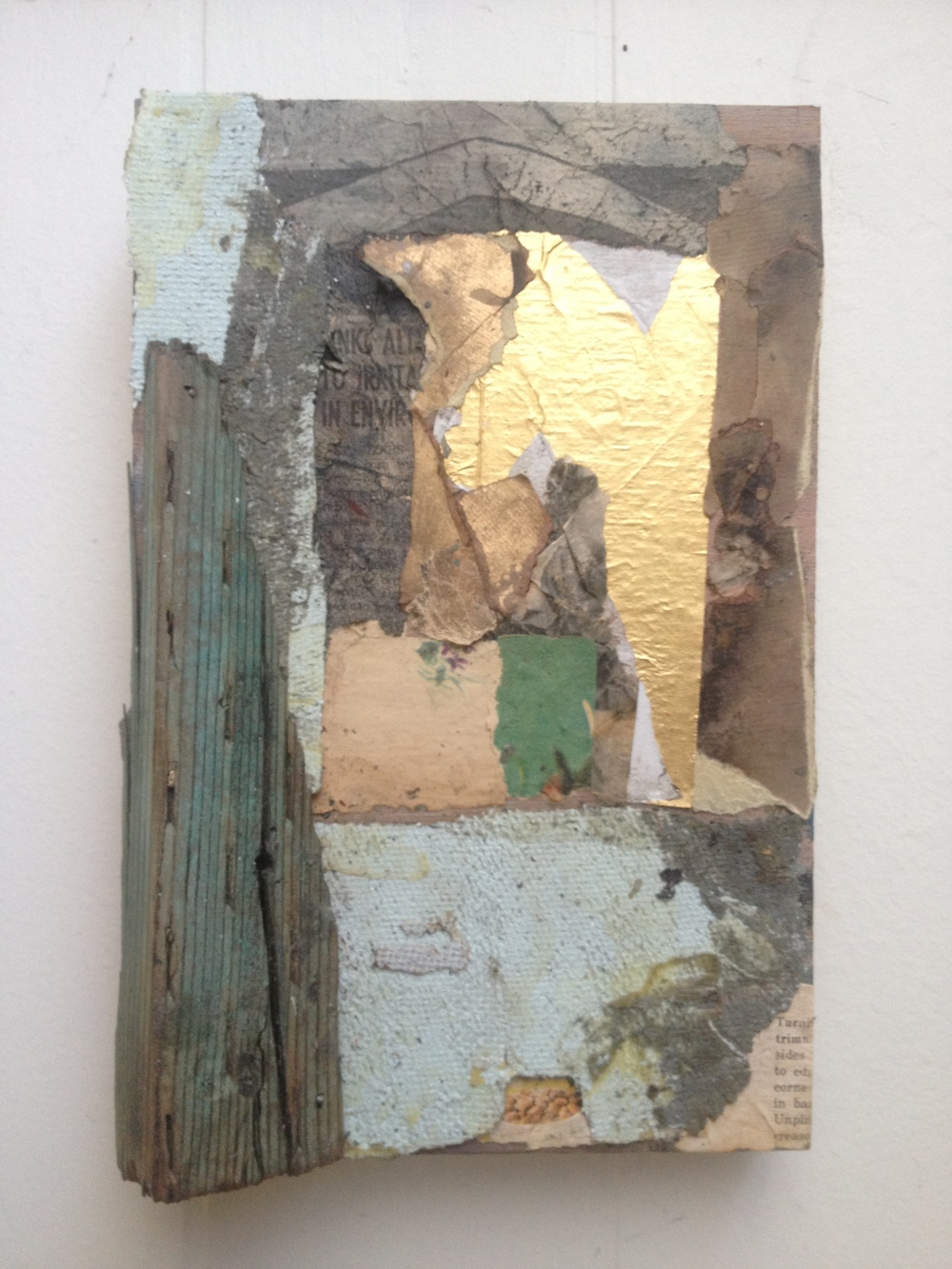 """Queen, assemblage on panel, 9"""" x 6"""""""